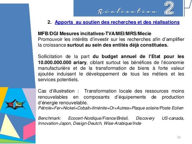 R é a l i s a t i o n 2 2. Apports au soutien des recherches et des réalisations MFB/DGI Mesures incitatives-TVA/MEI/MRS/M...