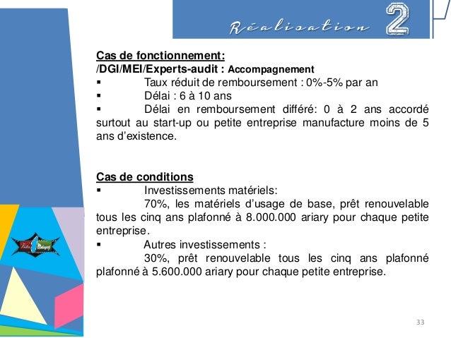 R é a l i s a t i o n 2 Cas de fonctionnement: /DGI/MEI/Experts-audit : Accompagnement  Taux réduit de remboursement : 0%...