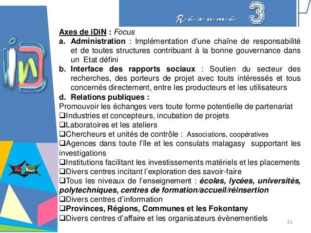 R é s u m é 3Axes de iDiN : Focus a. Administration : Implémentation d'une chaîne de responsabilité et de toutes structure...