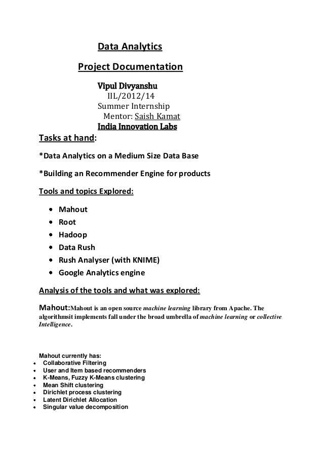 Data Analytics             Project Documentation                    Vipul Divyanshu                       IIL/2012/14     ...