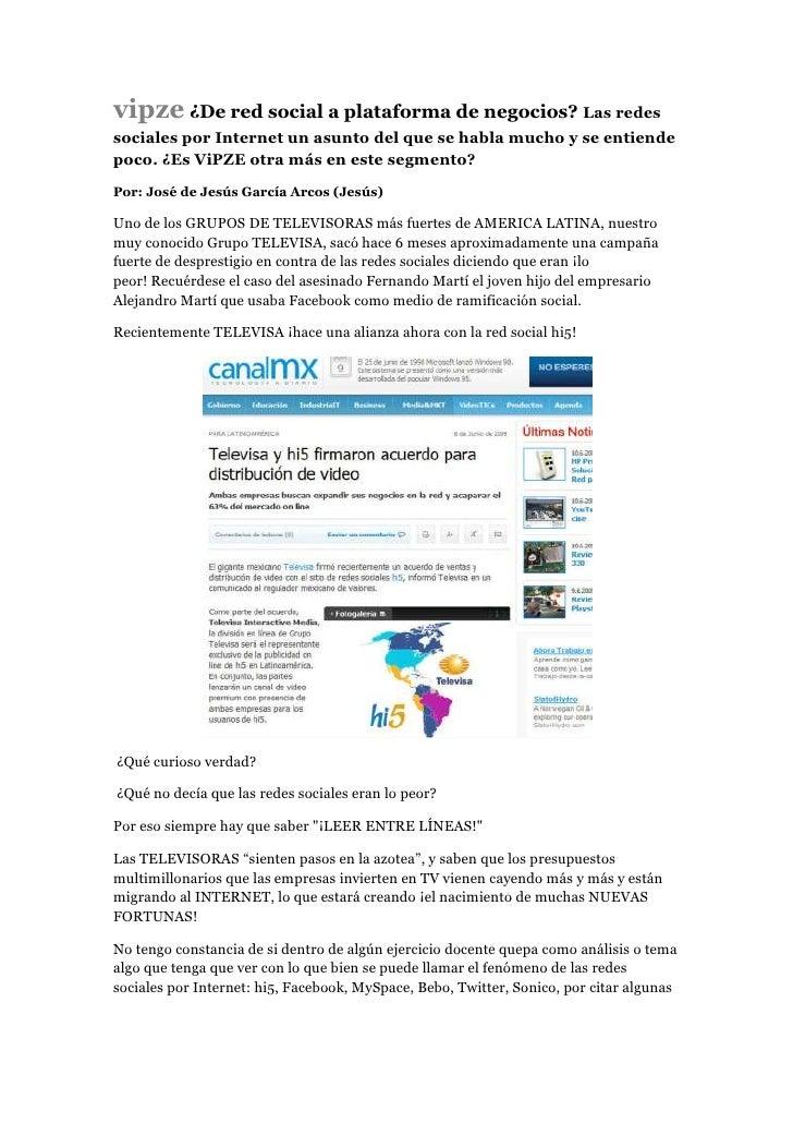 vipze ¿De red social a plataforma de negocios? Las redes sociales por Internet un asunto del que se habla mucho y se entie...