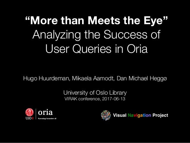 """More than Meets the Eye"" Analyzing the Success of User Queries in Oria Hugo Huurdeman, Mikaela Aamodt, Dan Michael Heggø ..."
