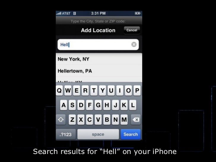 """Search results for """"Hell"""" on your iPhone"""