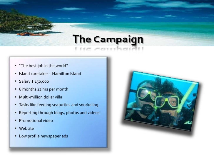  Boost tourism      Create a brand for the Whitsunday islands