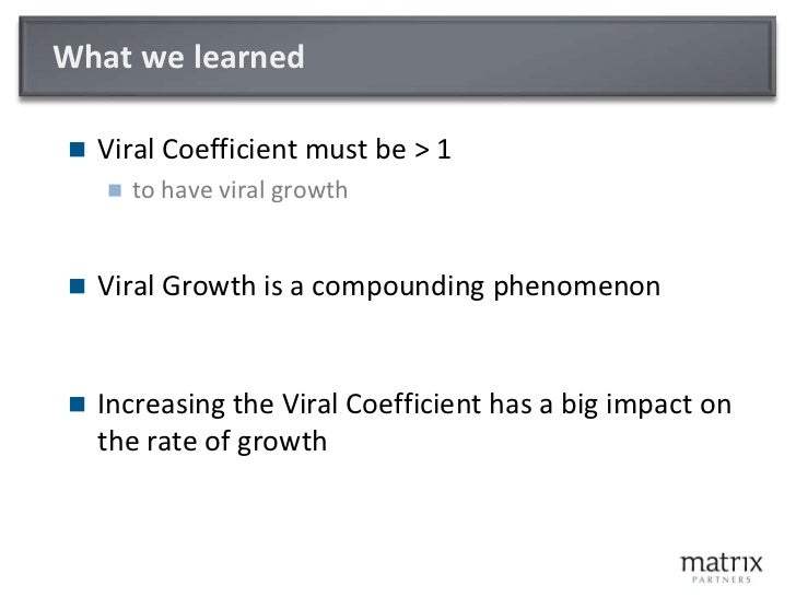 What we learned<br />Viral Coefficient must be > 1<br />to have viral growth<br />Viral Growth is a compounding phenomenon...