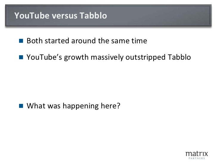 YouTube versus Tabblo<br />Both started around the same time<br />YouTube's growth massively outstripped Tabblo<br />What ...