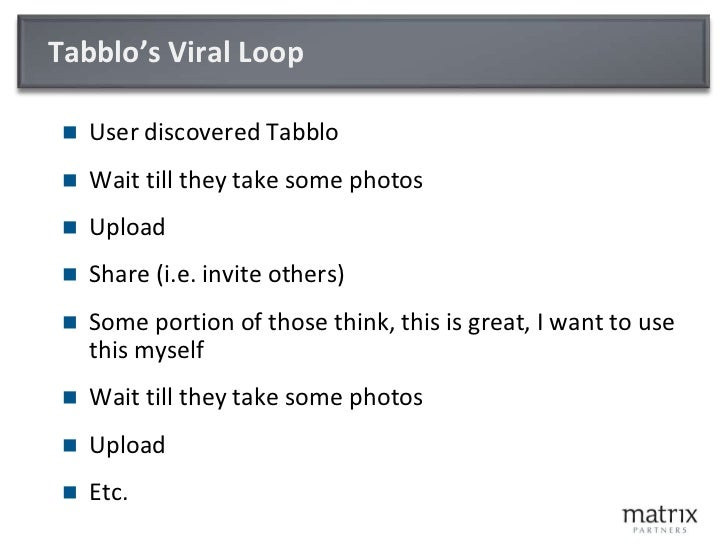 Tabblo's Viral Loop<br />User discovered Tabblo<br />Wait till they take some photos<br />Upload<br />Share (i.e. invite o...