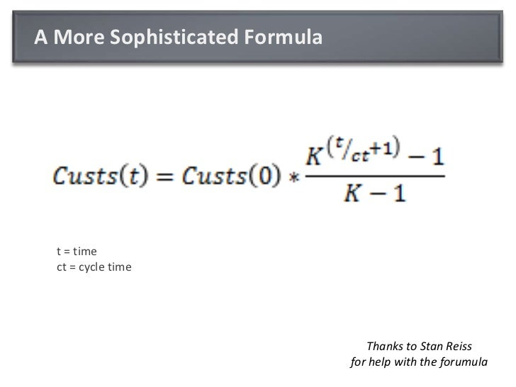 A More Sophisticated Formula<br />t = timect = cycle time<br />Thanks to Stan Reissfor help with the forumula<br />