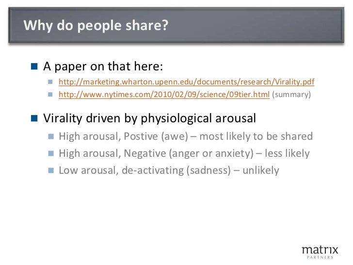 Why do people share?<br />A paper on that here:<br />http://marketing.wharton.upenn.edu/documents/research/Virality.pdf<br...