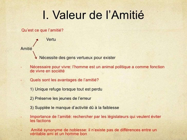 I. Valeur de l'Amitié<br />- Qu'est ce que l'amitié?<br />                      Vertu<br />Amitié<br />        Nécessite ...