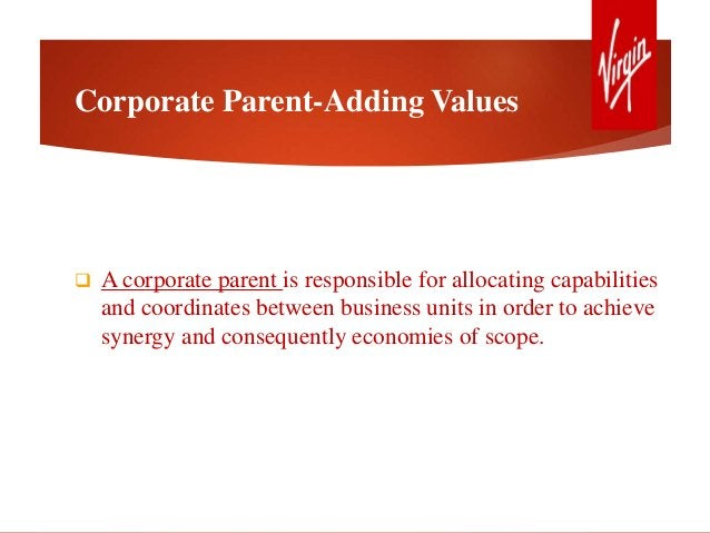 Corporate Parent-Adding Values  A corporate parent is responsible for allocating capabilities and coordinates between bus...
