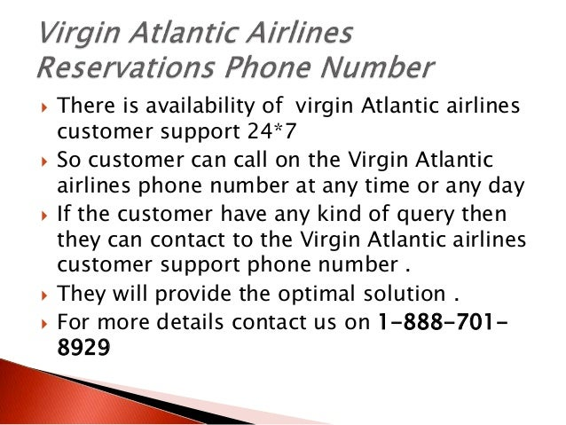 Virgin Atlantic Airlines customer service number 1-888-701-8929
