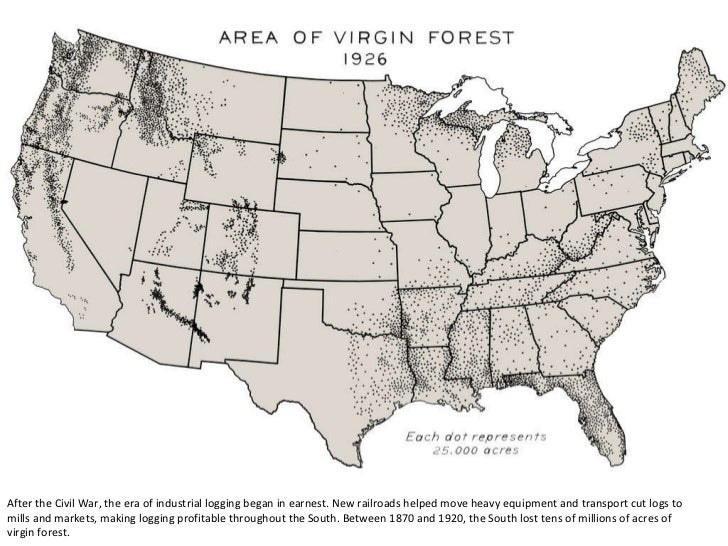 Virgin Forests Cover In The US - Map of us at start of civil war