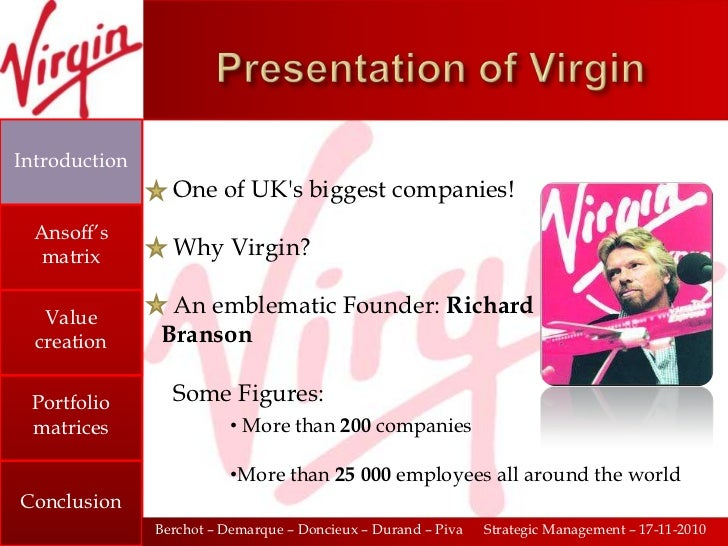 the virgin group The virgin group 1) what is the corporate rationale of the virgin group corporate rational is the way in which a corporate parent envisages the way.