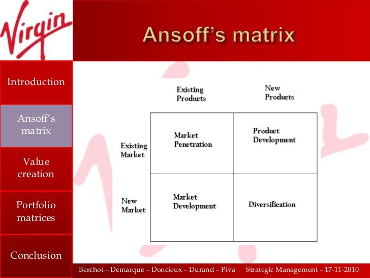 boston matrix for virgin group This is due to the virgin group partaking in what's known as 'unrelated  diversification' - the fifth strategy in ansoff's matrix unrelated.