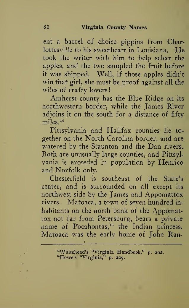 Virginia County Names - A History