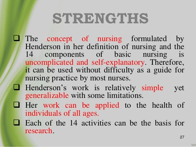 analysis of virginia hendersons nursing theory The virginia henderson international nursing library her mother came from the state of virginia to which miss henderson virginia henderson's need theory.