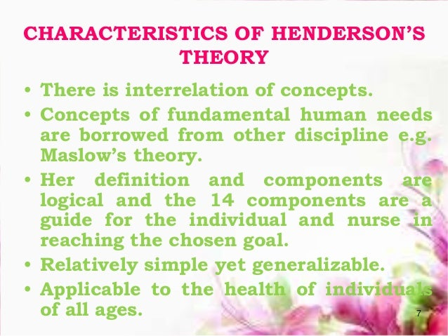virginia henderson the nursing theorist Transcript of virginia henderson theorist presentation virginia henderson's definition of nursing the unique function of the nurse is to assist the individual.