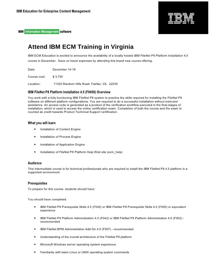 IBM Education for Enterprise Content Management            Attend IBM ECM Training in Virginia        IBM ECM Education is...