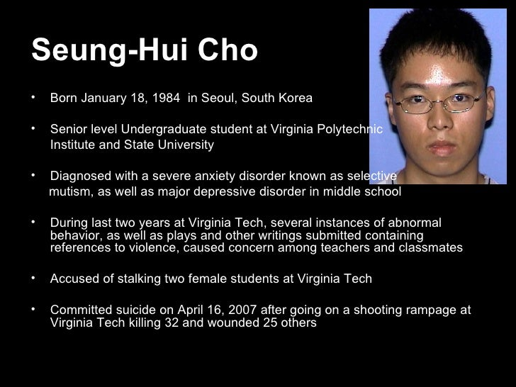 essay on the virginia tech shooting Cho seung-hui, a 23-year-old south korean student from the western suburbs of washington, dc, has been identified as the gunman in the april 16 shooting rampage at virginia tech university in blacksburg, va by pbs newshour politics apr 17 no image · virginia tech shooter identified as 23-year-old student.