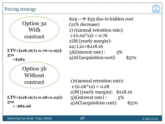 virgin mobile pricing case analysis Part iii)answers based on my analysis virgin mobile targets the 14 to 24 -year-olds market the case lays out three pricing options which option would.
