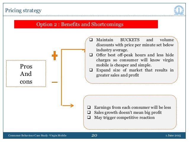 20 1 June 2015Consumer Behaviour Case Study -Virgin Mobile Pricing strategy Option 2 : Benefits and Shortcomings Pros And ...