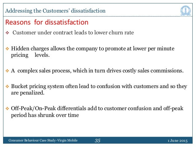 35 Reasons for dissatisfaction  Customer under contract leads to lower churn rate  Hidden charges allows the company to ...