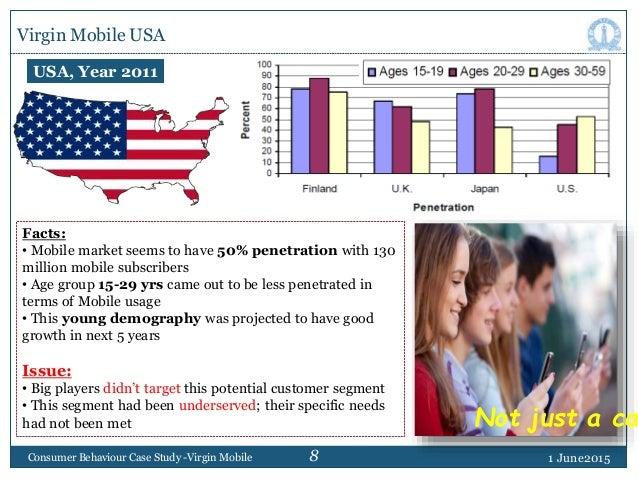 8 Virgin Mobile USA 1 June2015Consumer Behaviour Case Study -Virgin Mobile Facts: • Mobile market seems to have 50% penetr...