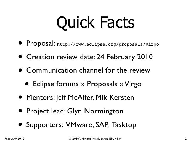 Virgo Project Creation Review