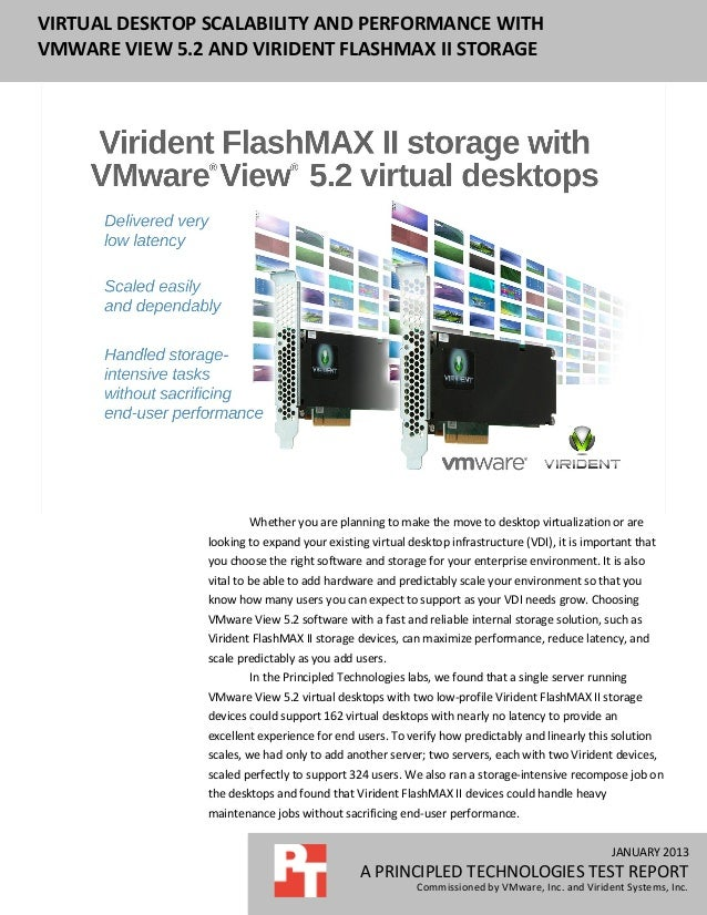 JANUARY 2013 A PRINCIPLED TECHNOLOGIES TEST REPORT Commissioned by VMware, Inc. and Virident Systems, Inc. VIRTUAL DESKTOP...