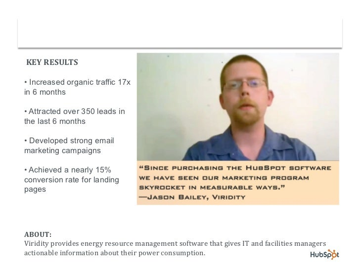 Viridity Uses HubSpot & Salesforce.com to Capture & Close more Leads Slide 2
