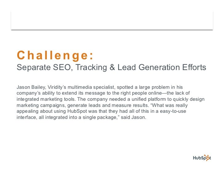 Viridity Uses HubSpot & Salesforce.com to Capture & Close more Leads Slide 3