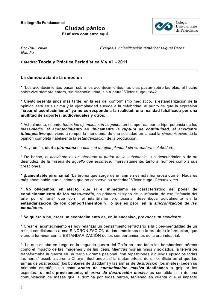 Bibliografía Fundamental                           Ciudad pánico                      El afuera comienza aquíPor Paul Viri...