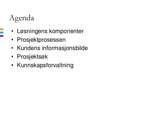 Agenda• Løsningens komponenter• Prosjektprosessen• Kundens informasjonsbilde• Prosjektsøk• Kunnskapsforvaltning