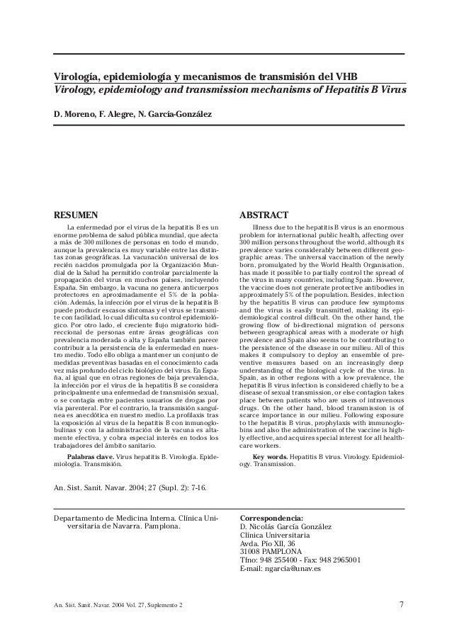 7An. Sist. Sanit. Navar. 2004 Vol. 27, Suplemento 2 RESUMEN La enfermedad por el virus de la hepatitis B es un enorme prob...