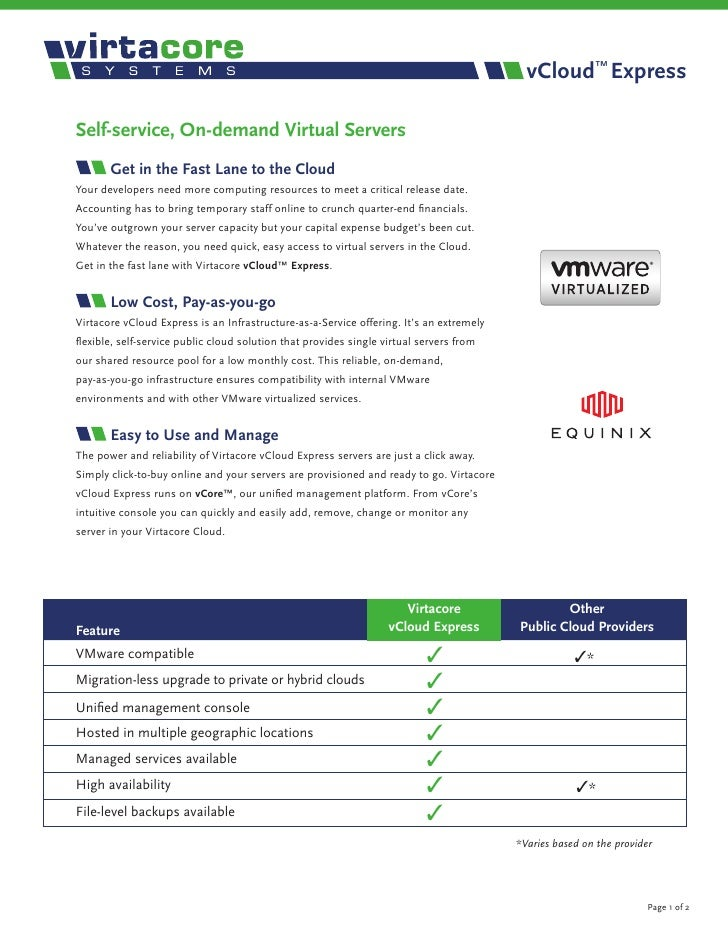 vCloud™ Express  Self-service, On-demand Virtual Servers        Get in the Fast Lane to the Cloud Your developers need mor...
