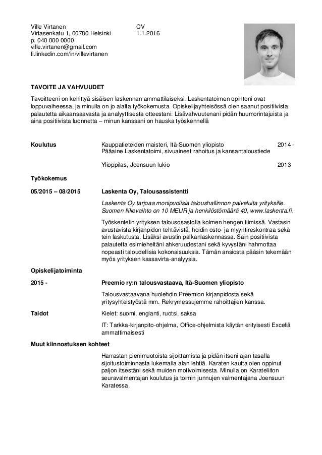 Esimerkki Cv Virtanen Ville