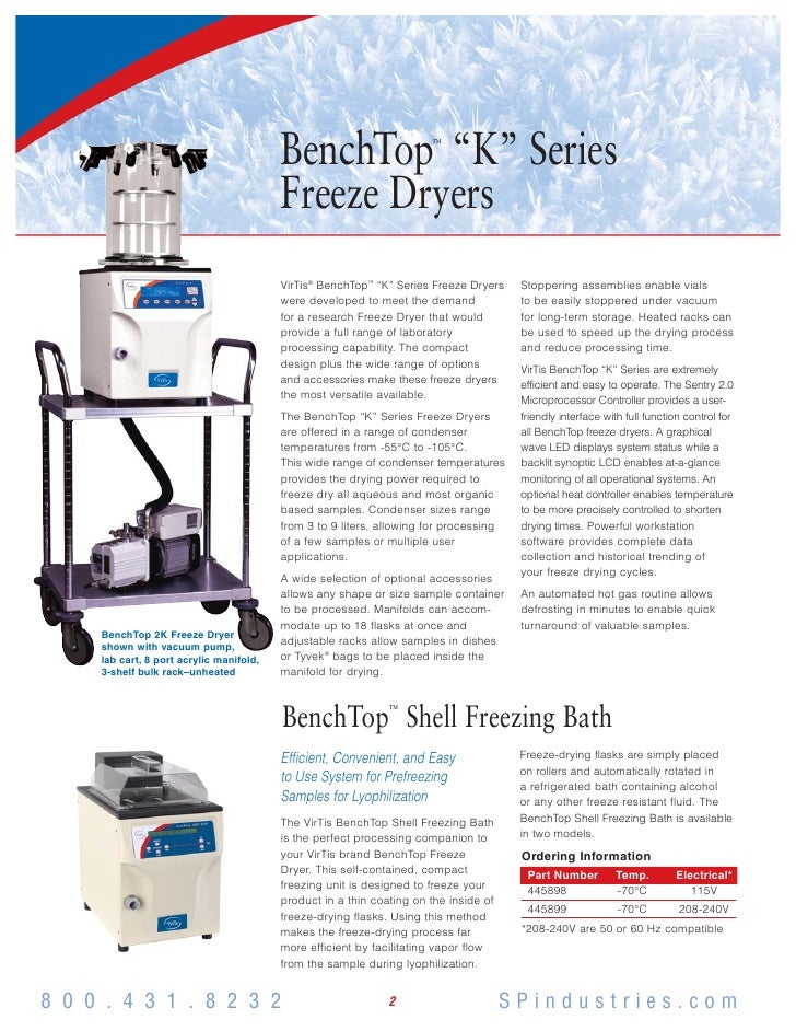 Virtis bench top k series (brochure)