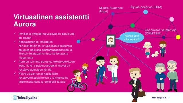 #tekoälyaika | 1 Virtuaalinen assistentti Aurora  Ihmiset ja yhteisöt tarvitsevat eri palveluita eri aikaan  Kansalaiste...