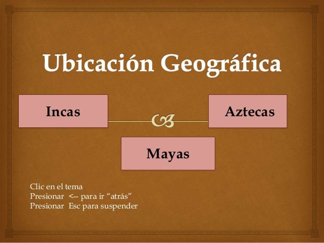 """Incas Mayas Aztecas Clic en el tema Presionar <-- para ir """"atrás"""" Presionar Esc para suspender"""