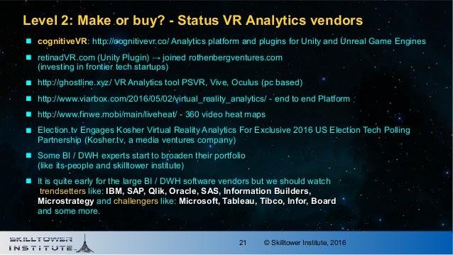 © Skilltower Institute, 201621 Level 2: Make or buy? - Status VR Analytics vendorsLevel 2: Make or buy? - Status VR Analyt...