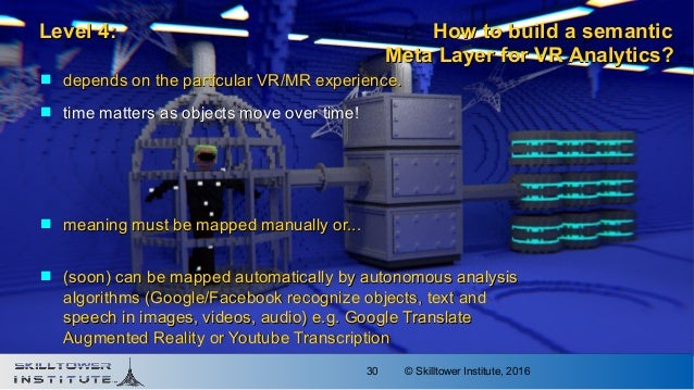 © Skilltower Institute, 201630  depends on the particular VR/MR experience.depends on the particular VR/MR experience.  ...