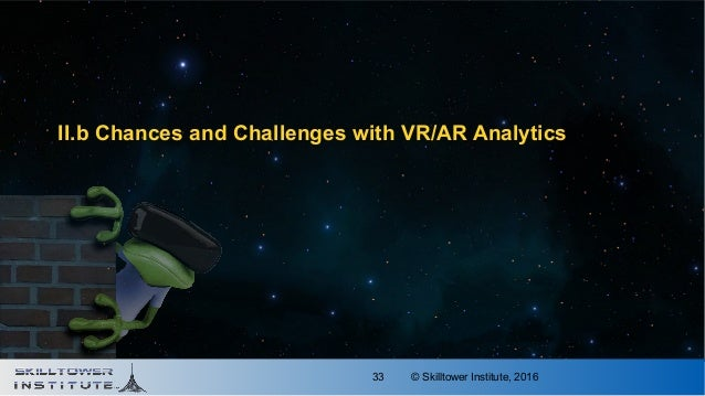 © Skilltower Institute, 201633 II.b Chances and Challenges with VR/AR Analytics