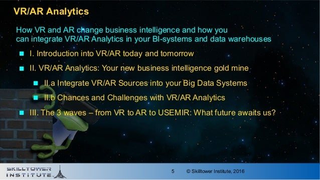 © Skilltower Institute, 20165 VR/AR Analytics How VR and AR change business intelligence and how you can integrate VR/AR A...