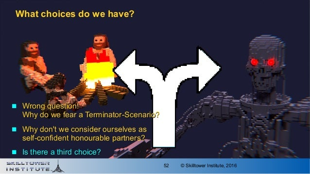 © Skilltower Institute, 201652 What choices do we have?  Wrong question!Wrong question! Why do we fear a Terminator-Scena...