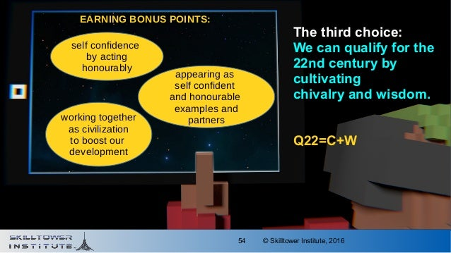 © Skilltower Institute, 201654 The third choice: We can qualify for the 22nd century by cultivating chivalry and wisdom. Q...