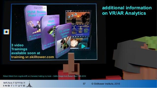 © Skilltower Institute, 201657 additional information on VR/AR Analytics 3 video3 video TrainingsTrainings available soon ...