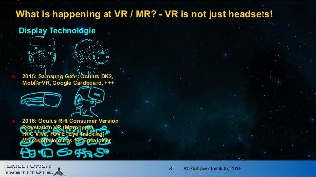 © Skilltower Institute, 20168 Display Technologie  2015: Samsung Gear, Oculus DK2,2015: Samsung Gear, Oculus DK2, Mobile ...