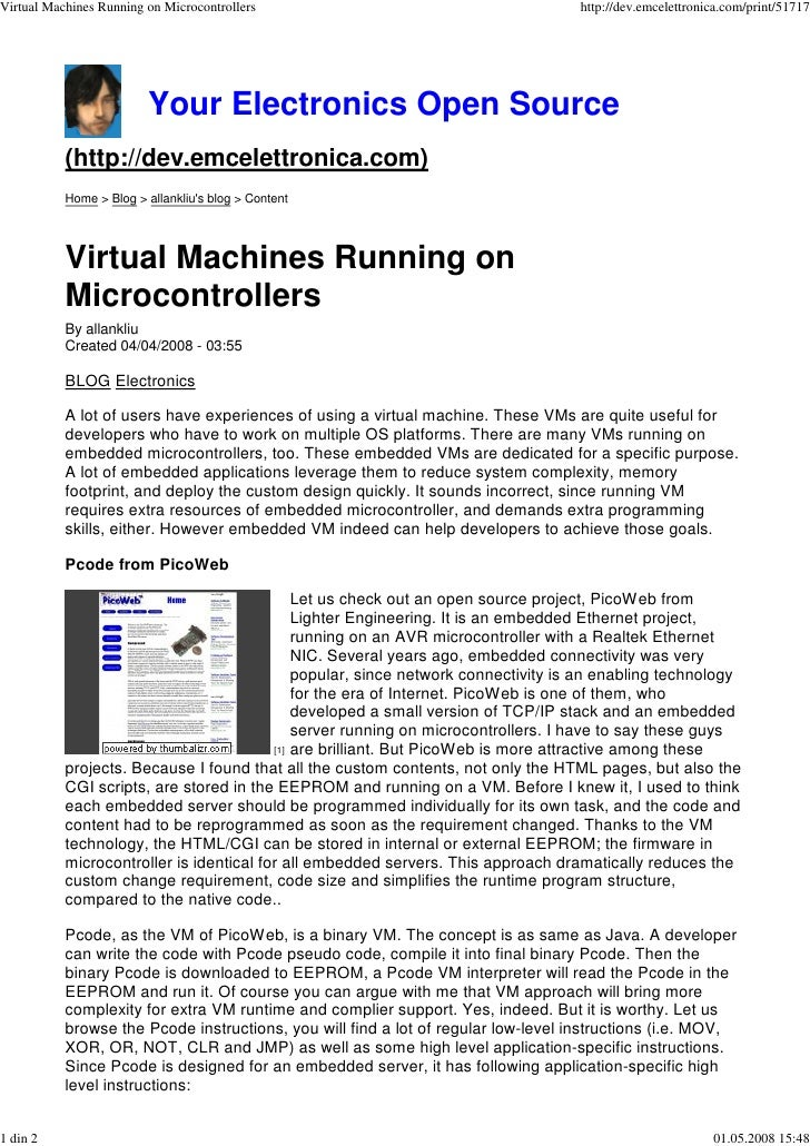 Virtual Machines Running on Microcontrollers                                        http://dev.emcelettronica.com/print/51...