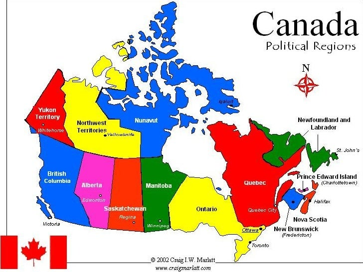 Virtual Tour Of Canada - Map of canada with great lakes